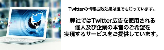 Twitterの情報拡散効果は誰でも知っていますよね。そのため、Twitter関連の広告が人気なわけですが、弊社ではTwitter広告を使用される個人及び企業の本音のご希望を実現するサービスをご提供しています。